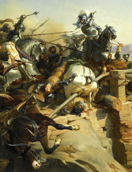 Wall Art - Painting - Bayard At The Battle Of Garigliano by Felix Philippoteaux