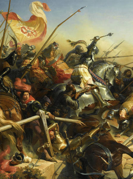 Wall Art - Painting - Bayard At The Battle Of Garigliano by Henri Felix Emmanuel Philippoteaux