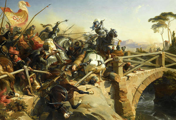 Wall Art - Painting - Bayard Defend Un Pont Sur Le Garigliano, 1503 by Felix Philippoteaux