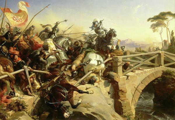 Wall Art - Painting - Bayard Defend Un Pont Sur Le Garigliano, 1503 by Henri Felix Emmanuel Philippoteaux