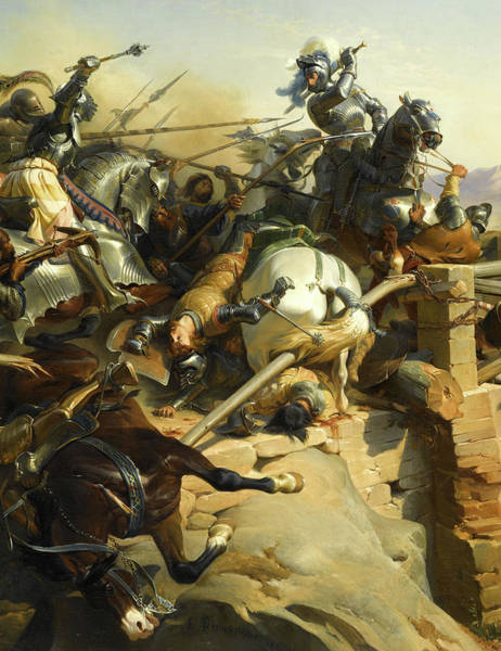 Wall Art - Painting - Bayard Defend Un Pont Sur Le Garigliano by Felix Philippoteaux