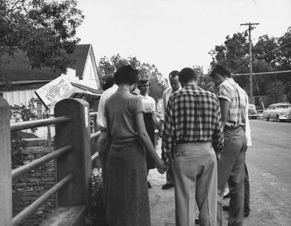 Missionary Photograph - Baylor Missionaries Asking Gods Help, O by John Dominis