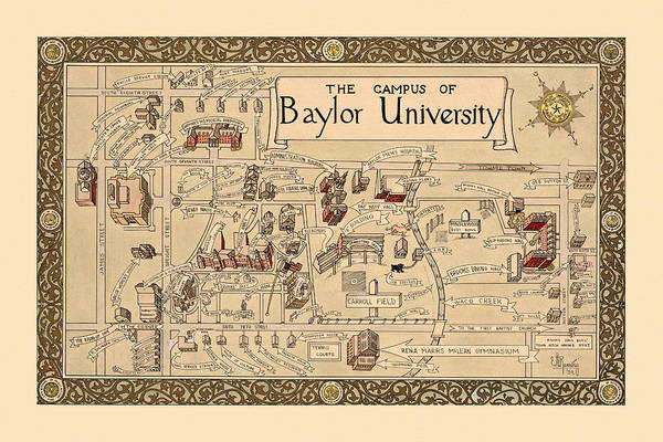 Photograph - Baylor University 1939 by Andrew Fare