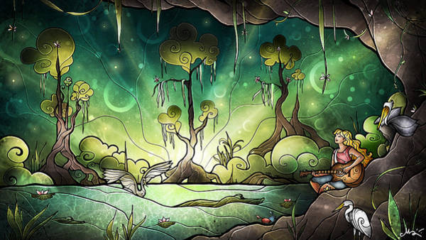 Pelican Mixed Media - Bayou Enchantment by Mandie Manzano