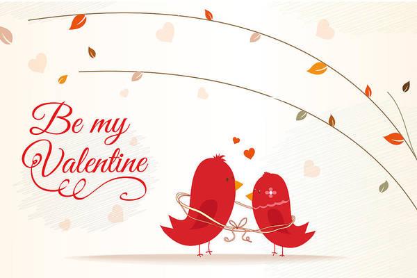 Wall Art - Digital Art - Be My Valentine Two Love Birds Valentines Day by Matthias Hauser