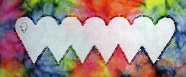 Tapestry - Textile - Be Still My Beaded Hearts by Pam Geisel