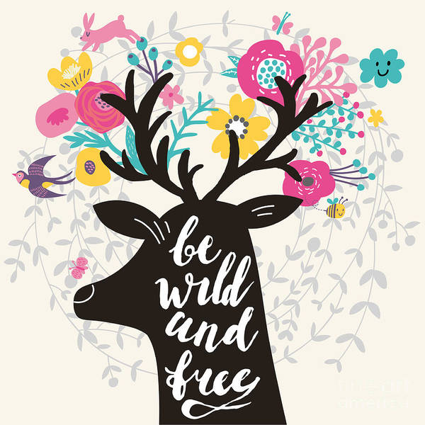 Wall Art - Digital Art - Be Wild And Free. Incredible Deer by Smilewithjul