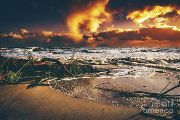 Wall Art - Photograph - Beach After Storm At Sunset. by Michal Bednarek
