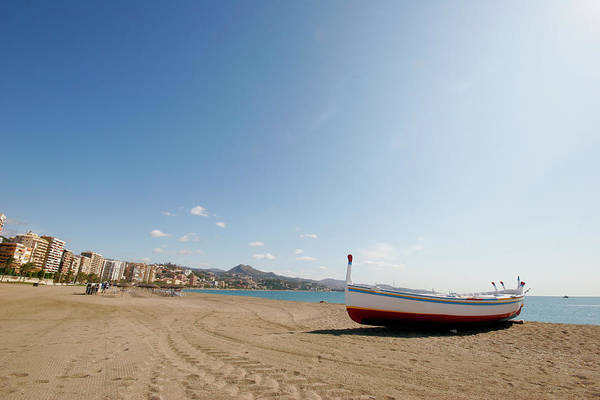 Rowboat Photograph - Beach And Boat In Malaga by Cirilopoeta