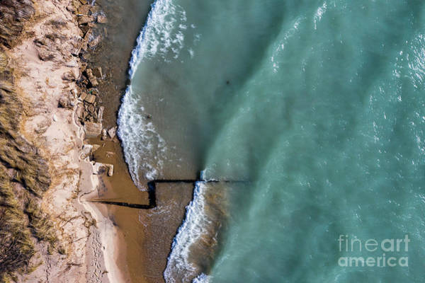 Download Photograph - Beach And Breakwall Aerial by Twenty Two North Photography