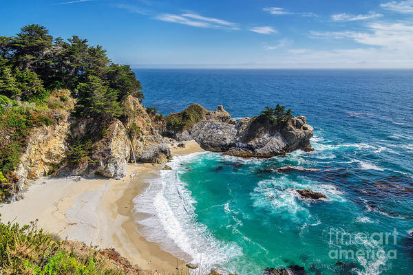 Route Photograph - Beach And Falls, Julia Pfeiffer Beach by Lucky-photographer