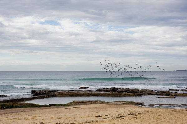New South Wales Photograph - Beach At Newcastle Dramatic Clouds by Nerida Mcmurray Photography