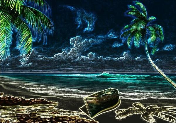 Mixed Media - Beach At Night by AE collections