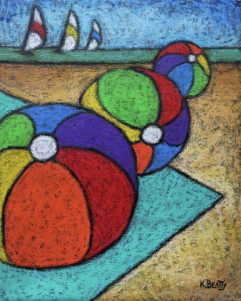 Wall Art - Painting - Beach Balls Three by Karla Beatty