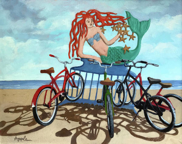 Wall Art - Painting - Beach Bikes by Linda Apple