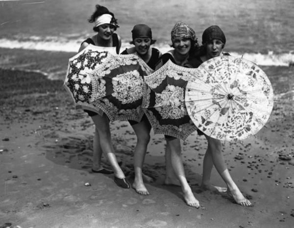 Shy Photograph - Beach Brollies by Fox Photos