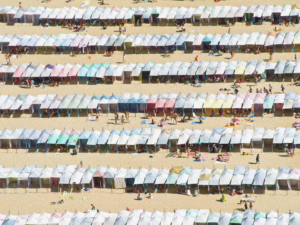 Beach Hut Photograph - Beach Cabana In Nazare, Portugal by David Lopes