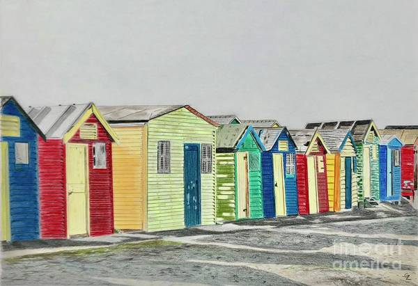South Beach Drawing - Beach Cabanas, South Africa by Glenda Zuckerman