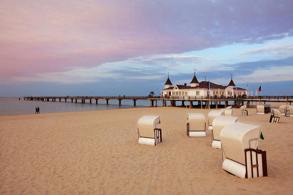 Jetty Photograph - Beach Chairs And Pier In The Evening by Heinz Wohner / Look-foto