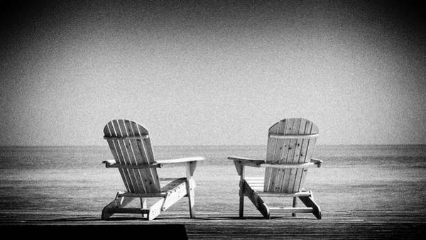 Photograph -  Beach Chairs In Black And White by Rudy Umans