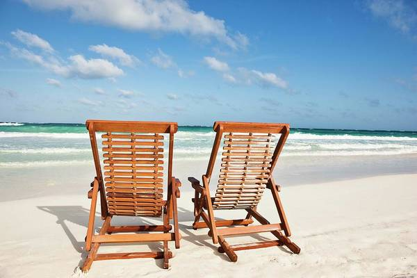 Mayan Riviera Photograph - Beach Chairs In The Sand by Jupiterimages