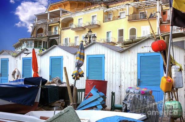 Wall Art - Photograph - Beach Changing Rooms Positano by John Rizzuto