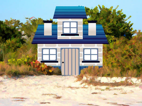 Mixed Media - Beach Cottage by Rosalie Scanlon