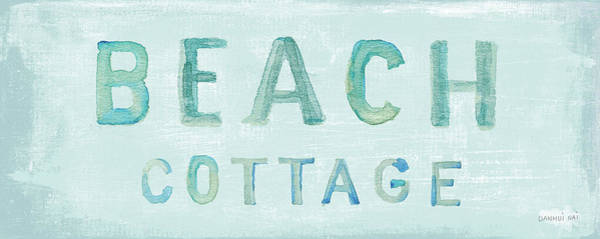 Wall Art - Painting - Beach Cottage Sign by Danhui Nai