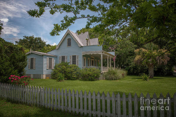 Photograph - Beach Cottage With White Picket Fence by Dale Powell