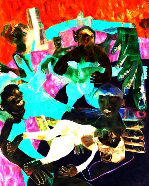 Digital Art - Beach Crowd Laid Monkey by Artist Dot
