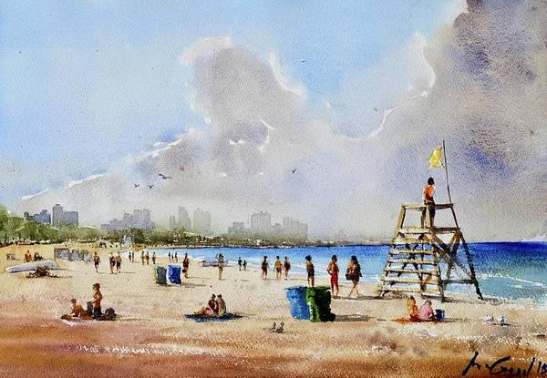 Manhattan Skyline Painting - Beach Day by Max Good
