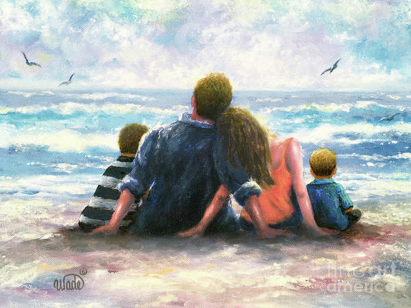 Wall Art - Painting - Beach Family Two Sons by Vickie Wade