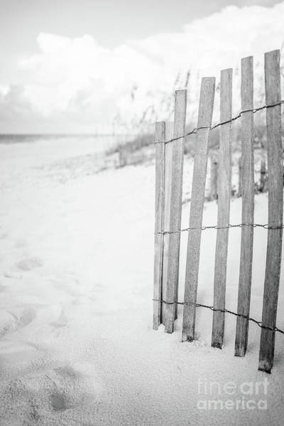 Wall Art - Photograph - Beach Fence In Pensacola Florida Black And White Photo by Paul Velgos