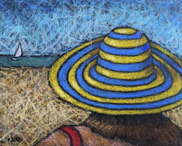 Wall Art - Painting - Beach Hat Blue And Yellow by Karla Beatty
