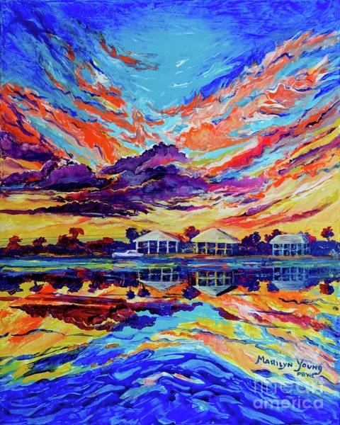 Painting - Beach House Reflections Fluid Acrylic by Marilyn Young