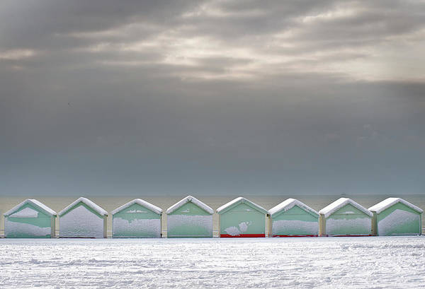 Beach Hut Photograph - Beach Huts On Hove Promenade In Snow by Jamie Marshall - Tribaleye Images
