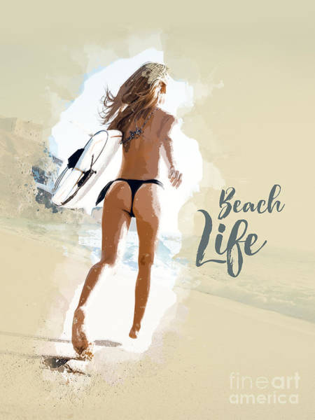 Fun Run Digital Art - Beach Life - Woman by Stefano Cavoretto