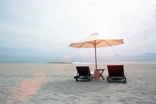 Hoi An Photograph - Beach Loungers With Umbrella by Eternity In An Instant