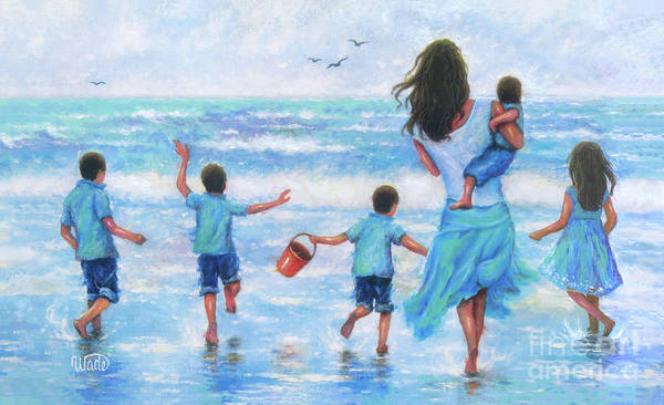 Wall Art - Painting - Beach Mother Four Boys And A Girl by Vickie Wade