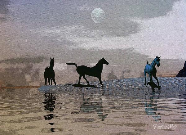 Beach Of Wild Horses Art Print
