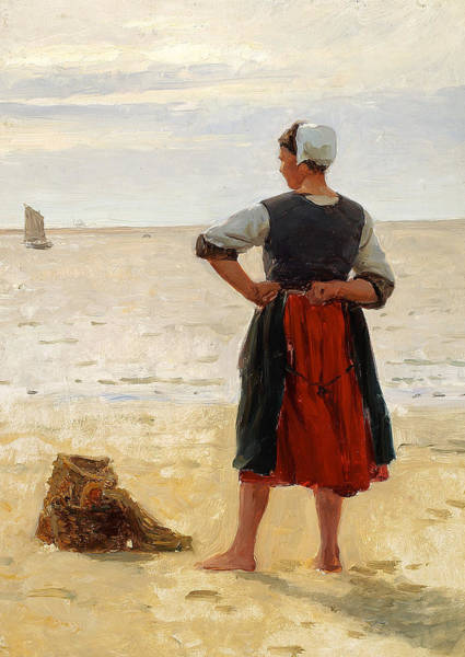 Painting - Beach Scene From Bretagne. A Young Fisherwoman Is Looking At The Sea. by Laurits Tuxen