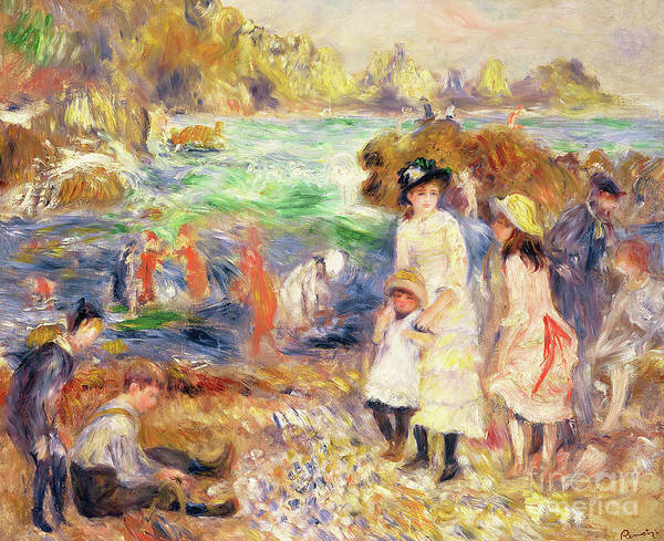 Wall Art - Painting - Beach Scene, Guernsey, Enfants Au Bord De La Mer A Guernsey, 1883 by Pierre Auguste Renoir