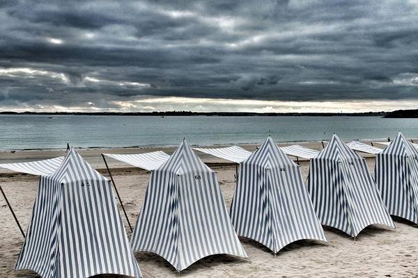 Tent Photograph - Beach Tents, Britanny by Patrick De Talance Getty