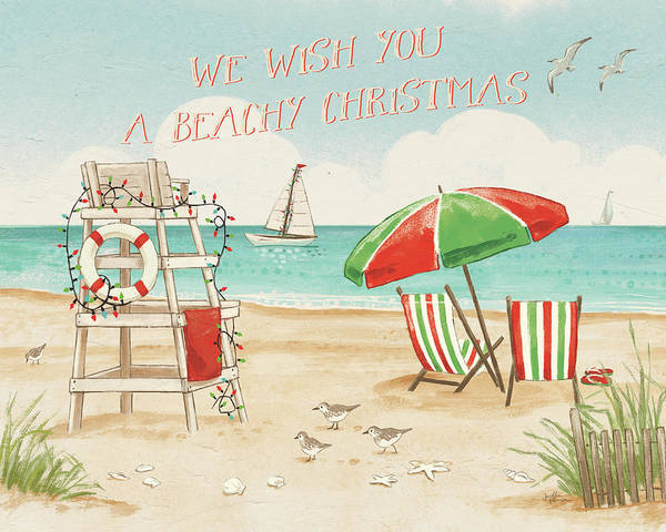Wall Art - Painting - Beach Time I Christmas by Janelle Penner