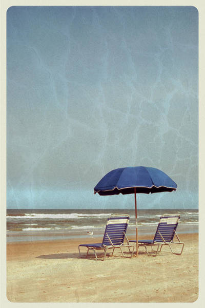 Deck Chair Photograph - Beach Umbrella And Chairs - Vintage by Jitalia17