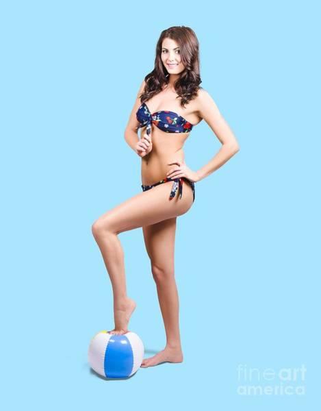 Babe Photograph - Beach Volleyball Girl Standing On Beach Ball by Jorgo Photography - Wall Art Gallery