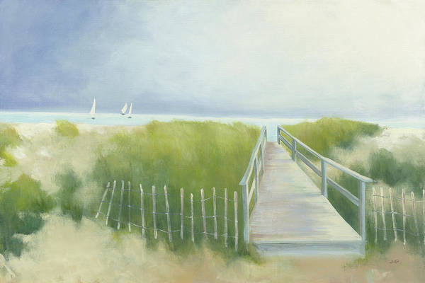 Wall Art - Painting - Beach Walk With Boats by Julia Purinton
