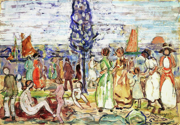 Wall Art - Painting - Beach With Blue Tree - Digital Remastered Edition by Maurice Brazil Prendergast