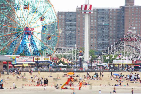 Wall Art - Photograph - Beachgoers At Coney Island by Ryan Mcvay