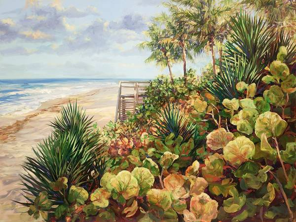 Sea Oats Painting - Beachside Garden by Laurie Snow Hein